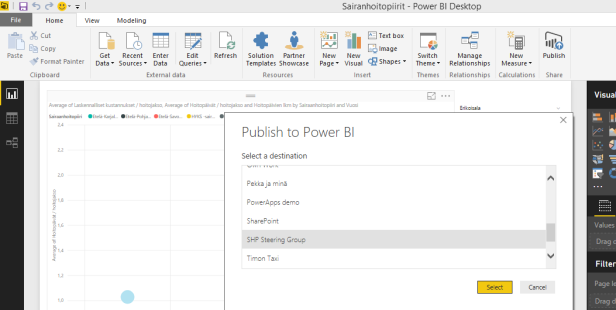 publish report to Power BI