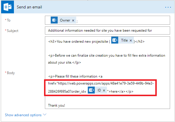 site provisioning powerapps url in email.png
